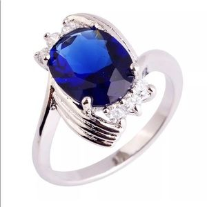NEW! CLADDAGH OVAL SAPPHIRE/TOPAZ RING